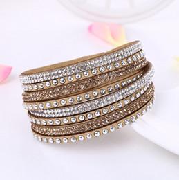 Mix cor Whole sale multicamadas Envoltório De Couro pulseira de Jóias Para As Mulheres De Cristal pulseiras Simples deisgn tecido De Veludo de