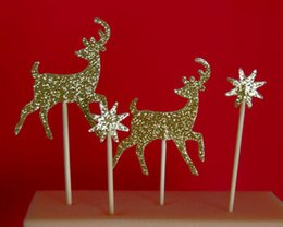 Wholesale Glitter Christmas Picks - glitter Deer With Stars Christmas Cupcake Toppers Engagement Party Bachelorette birthday Wedding Bridal Shower Night food picks