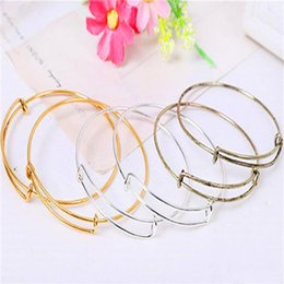 Wholesale Loop Bracelets - Luxury Charm Bracelets DIY Bangle Iron Wire Loop Bracelet Adjustable Bangle Wristband Gifts For Girls Women