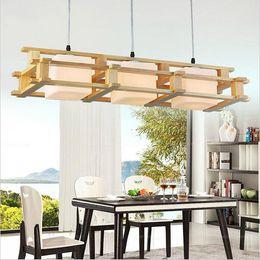 Wholesale office energy saving - Modern OAK led pendant light wooden glass chandeliers lighting fixture 1 3 heads home lighting for living room decoration