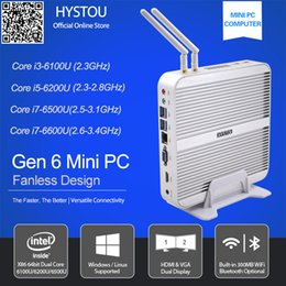 Wholesale Mini I5 - Wholesale-[Gen 6 Skylake CPU] Hystou 12v Computer i5 6200U Fanless Mini PC Windows 10 Micro Office Computer HDMI VGA 4k TV Box