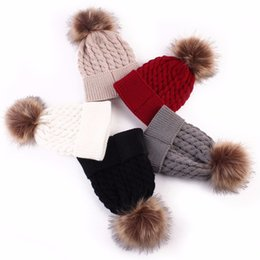 Wholesale Newborn Christmas Crochet Hat - Newborn baby Winter Christmas Hat Cap Kids Hats Girl Boy Crochet Knitted Hats Wool Fur Ball Pompom infant Hemming Hat 1pc 25