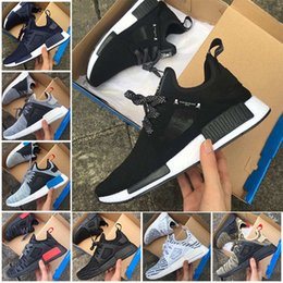 Wholesale Skull Shoes Men - 2017 NMD XR1 Running Shoes Mastermind Japan Skull Fall Olive green Camo Glitch Black White Blue zebra Pack men women sports shoes 36-45