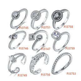 Wholesale Wholesale Vintage Style Rings - BELAWANG 9 Styles 925 Silver Clear Crystal Finger Ring with CZ Women Vintage Simulated Diamonds Rings Fashion Wedding Jewelry Christmas Gift