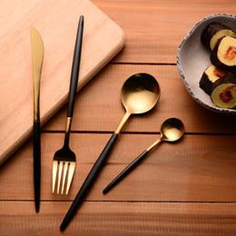 Wholesale Metal Dinner Forks - Wholesale-304 Stainless Steel Cutlery Gold Flatware Set Black Tableware Dinnerware 1 Dinner Knife + 1 Spoon + 1 Fork + 1 tea Spoon