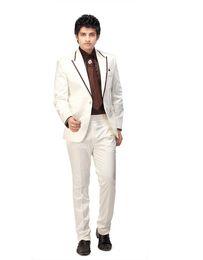 Wholesale Groomsmen Clothing White - Wholesale-Custom Made White Man Suit Brown Edge Wedding Suit For Man Clothes 2016 Groom Tuxedos Groomsman Suit (jacket+pants)