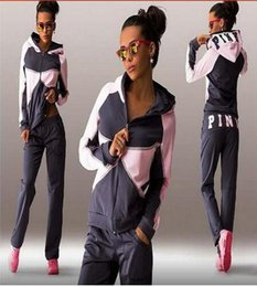 Wholesale Sportswear Volleyball - 2017 new Sports Suit Jogging Suits For Women Letter vs Pink Print Sport Suit Hoodies Sweatshirt +Pant Jogging Sportswear Costume 2 piece Set