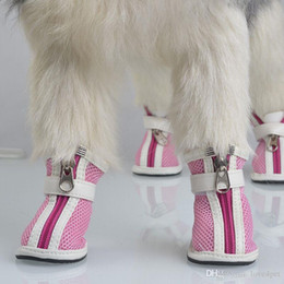 Wholesale Dog Shoes Winter Pet - E51 free shipping dog shoes Breathable net surface leisure sports shoes Teddy guests spring and autumn pet shoes 4pcs set