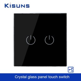Wholesale Touch Screen Wall Switch Eu - Wholesale-New Touch Switch Screen Crystal Glass Panel wall switch EU Standard 110~250V Wall Light Switch 2 gang 2 way Black Brand kisuns