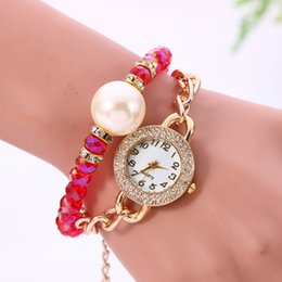 Wholesale Double Pearl Bracelets - Hot Sale Flowers Double Pearl Bracelet Watch & High Quality Electronic Wrist Watches & Women Watches 6 Colors