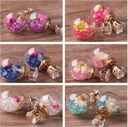 Wholesale Wholesale Sequin Glasses - XS 2017 New Design Double Glass Ball Zircon Stud Earring Small Fashion Sequins Dried Flowers for Girls Earrings Wholesale