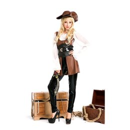 Wholesale New Arrive Sexy Costumes - New arrive! Free shipping women leather pirate costume, sexy halloween costume party cosplay Free size