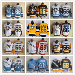 Wholesale Men Penguin - Cheap Throwback #66 Mario Lemieux Vintage CCM Gold Yellow Black White Pittsburgh Penguins Ice Hockey Jerseys 100% Stitched Free Shipping