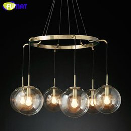 Wholesale Clear Glass Ball Pendant Lights - FUMAT Modern Round Clear Glass Ball Chandeilers Restaurant Hanging Light Fixtures Bedroom Living Room Lamps