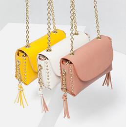 Wholesale Mini Bag New Candy - 2016 New Arrive Candy Brand women Shoulder bags Chain Rivet Tassel Fashion Lady bags