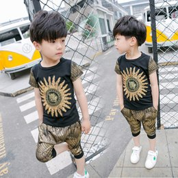 Wholesale Girls Tiger Sets - Boys Clothes Toddler Kids Girls Boys Clothes Set Tops Sun tiger sequins T-shirt+ Pants Shorts Outfits