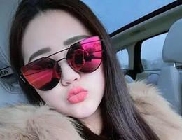 d5b1408f5b 2016 Nuevas Llegadas Moda Hombres Gafas de sol de Las Mujeres Lentes Planas  Espejo Marco de Metal Oversized Cat Eye Sun Glasses Envío Gratis