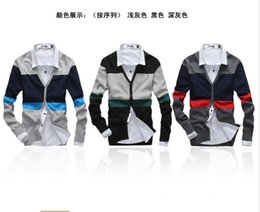 Wholesale Chinese Wool Sweater - Wholesale-Free shipping Autumn and winter fashion color block stripe casual men sweater cardigan , Men's knitted v-neck sweater
