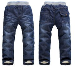 Wholesale Thick Brand Jeans Boys - Winter Thick Warm Cashmere Pants Kids Baby Brand Children's Trousers Boy's Denim Jeans High Quality Children Clothing 1pcs Free Shipping