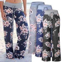 Wholesale Trousers Black Flowers - S-3XL Women Casual Floral Flower Print Drawstring Wide Leg Palazzo Pants Ladies Loose Pajama Trousers