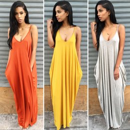 Wholesale Yellow Overalls Women - Fashion 2016 Summer Women Strapless Casual Loose Long Maxi Jumpsuit Sexy Cotton Beachwear Vestidos long Harem Overall Strap Rompers Playsuit