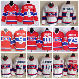 Wholesale maurice white - Montreal Canadiens Jerseys Ice Hockey 4 Jean Beliveau Jersey Retro Red White 10 Guy Lafleur 79 Andrei Markov 9 Maurice Richard