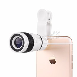 Wholesale Zoom Camera For Cell Phone - Universal 8X Zoom Cell Phone Telescope Lens With Clip Long Focal Camera Lens For Iphone Samsung HTC Sony Huawei With Retail Box DHL