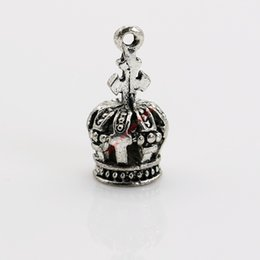 Wholesale Crown Charms 3d - 20pcs Antique Silver Plated 3D Crown Charms Pendants for Necklace Jewelry Making DIY Handmade Craft 18x9mm