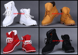 Wholesale Warm Boots For Men - Pure Working Shoes Wheat Black Brown White Red For Men Winter Outdoor Boots Flats Blank Snow Warm Shoes Brand Casual Solid Sneakers