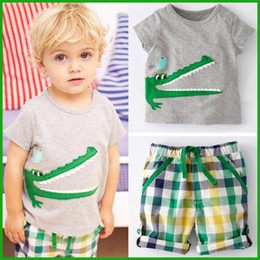 Wholesale Toddler Striped Shirt - Summer kids baby casual sports short t-shirt toddler corcodile striped pants children boy outfit clothing sets