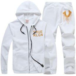 Wholesale Popular Coat Brands - Wholesale Men's Hip Hop Printing Hoodies Cardigan Leisure Coat Popular Brand White Black Hoodies Sets Plus Size 3XL With High Quality