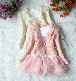 Wholesale Girls Lace Flower Clothing Set - 2016 New children girl spring Autumn flower 2-piece sets Long sleeved Coat T-shirt one-piece dress suits kid baby costume clothing 4set lot
