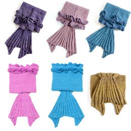 Disfraz de sofa online-Hot Kids Crochet Mermaid Tail Mantas Handmade Mermaid Tail Knit Sofa Nap Mantas Traje Cocoon 140 * 70 cm
