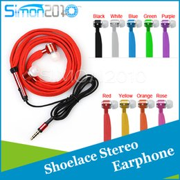 Wholesale Port Noise - High quality Metal BASS in-ear earphone 3.5mm jack port headsets shoe lace headphone with Mic Noise Cancel