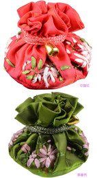 Wholesale Wholesale Jewelry Supply Tool - Ribbon Embroidery Round Bottom 8 Pouch Bag Drawstring Satin Cloth Gift Packaging Travel Portable Jewelry Makeup Tools Storage Pouch