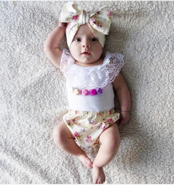 Wholesale Infant Lace Tops - INS 2016 Infant Baby Girls Summer Princess Sets Kids Girl Lace Cotton Tops With Floral Short PP Pants With Bow Headbands Children's Outfits