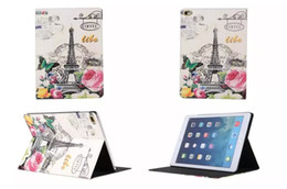 Wholesale London Cover - For Ipad Pro 9.7 Inch tablet Retro Paris La Tour Eiffel Tower Stand Leather Case Elizabeth Flip Flower Pouch London Smart Cover skin Fashion