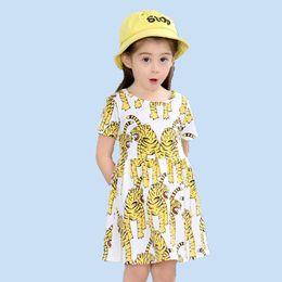 3b4f37c07ea 2017 Summer Pretty Baby Girls Dresses Children Clothes Cute Animal Mermaid  Print Fashion Short Sleeve Princess Dress Kids Clothing