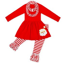 Wholesale Red Stripe Leggings - Christmas Girls Outfits Red stripe Santa Claus Father Christmas 3pcs sets Princess Dresses+leggings+scarf Children Suit Girls Clothes A1019