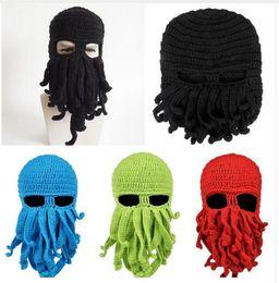 Wholesale Knitted Octopus Hat - Hats Women Men Novelty Handmade Funny Beard Octopus Crochet Squid Knitted Head Mask Beanies Cap Unisex Gift DHL Free Shipping