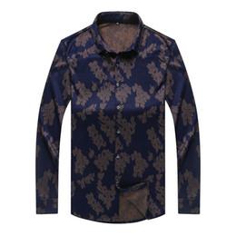 Wholesale Large Mens Dress Shirts - Wholesale-2016 Men Long Sleeve Shirt Male High Quality Floral Tops Shirt Fashion Mens Dress Shirts Large Size 3XL-8XL
