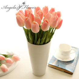 Wholesale Artificial Mini Silk Flowers - Free shipping 21PCS LOT pu mini tulip flower real touch wedding flowers artificial flower silk flower home decoration