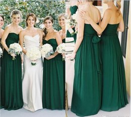 Wholesale Emerald Ruched Dress - 2016 New Emerald Green Chiffon Sweetheart A-line Floor Length Bridesmaid Dresses Long Country Ruched Sash Maid Of Honor Gowns