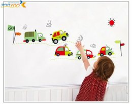 Wholesale Baby Boy Wall Decor - 100pcs cartoon car wall sticker baby room decor boys room decal home decorations art ZY7012. kids room wall decal mural accessories 4.5