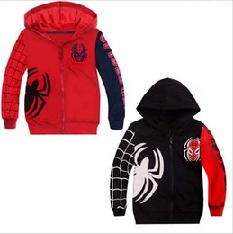 Wholesale Childrens Sweater Jackets - Wholesale Boys Baby Childrens Clothing Cartoon Spiderman Hooded Outwear Sweater Kids Clothes Jackets Hoodies Sweatshirts Sport Clothing