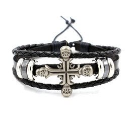 Wholesale Infinity Leather Bracelets - Gothic Rock Scene Accessories Personalized Leather Bracelet Cross Skull Bangle Personality Wristband Infinity Bracelet for Men Fashion