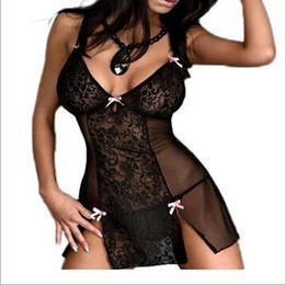 Wholesale Transparent Skirt Thong - Sexy Lingerie Strapghetti Strap Deep V-Neck Femininas Pijamas Bow Night Dress And Thong Transparent Erotic Sleepwear Lace Roupas 2PCS Set