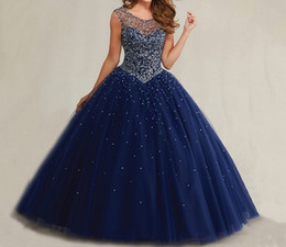 Wholesale Taffeta Plus Size Prom Dresses - Plus Size Masquerade Bal Prom Gowns Puffy Sweet 16 Navy Blue Quinceanera Dresses 2017 Pearls Cap Sleeves Sparkly Luxury Crystals HY1562