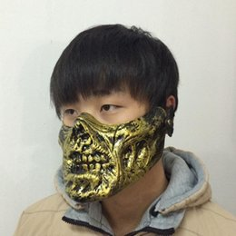 Wholesale Ghost Paintball Mask - Halloween Party masks Antique Terrorist paintball skull mask Warrior Zombie Skeleton ghost mask gold silver copper color free shipping