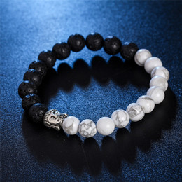 Wholesale Beads Nature Stone - Ancient silver Buddha nature stone double color bead bracelets wristband for women men fashion jewelry gift 161319